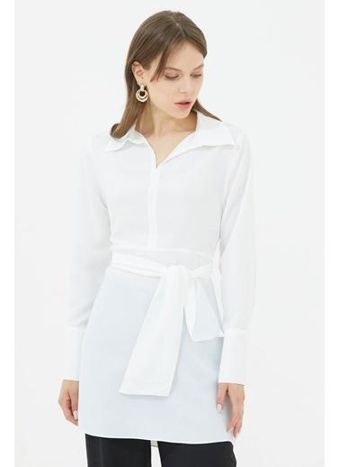 Sementa Gömlek Yaka Belden Bağlamalı Tunik   Beyaz
